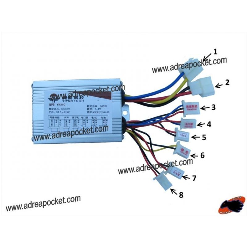Controleur Tension 8 Fils 36 Volts 500 Watts Trottinette